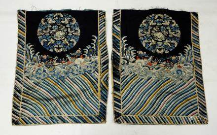 Pair Chinese 19 C Silk Embroidered Roundel Panels
