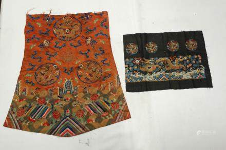 2 Chinese 18/19 C Silk Dragon Embroidered Panels
