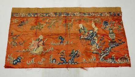 Chinese 19 C Silk & Gold Immortal Embroidery