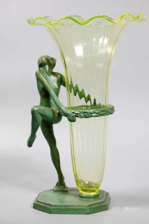 Frankart Deco Spelter Nude & Vaseline Glass Vase