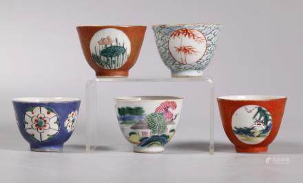 Set 5 Chinese 18/19 C Enameled Porcelain Cups