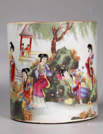 Chinese Famille Rose Porcelain Bitong Brush Pot