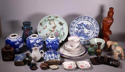 35 Chinese Porcelains, Cloisonne, Metal, Etc.