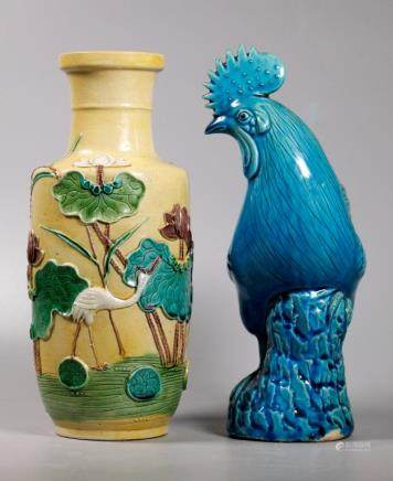 2 Chinese Enamel Biscuit Porcelains Vase & Chicken