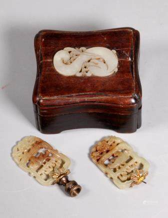 Chinese 18 C White Jade Dragon Box; 2 Stones