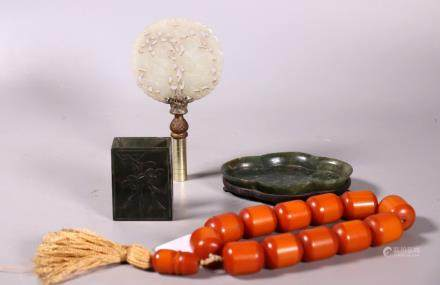 3 Old Chinese Carved Jades; Bakelite Amber Beads