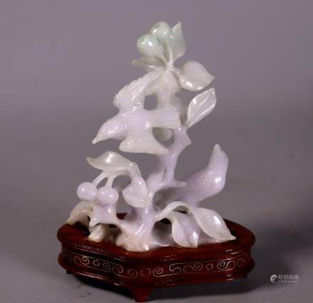 Chinese Carved Jadeite Figure 2 Birds Fruit Tree