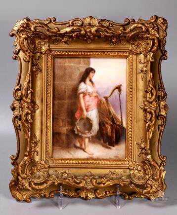 KPM Porcelain Plaque; Barefoot Gypsy & Tambourine