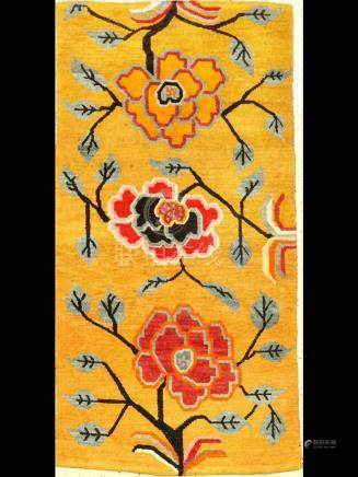 Tibetan Yellow Kampa-Dzong 'Khaden Rug' (Peonies),