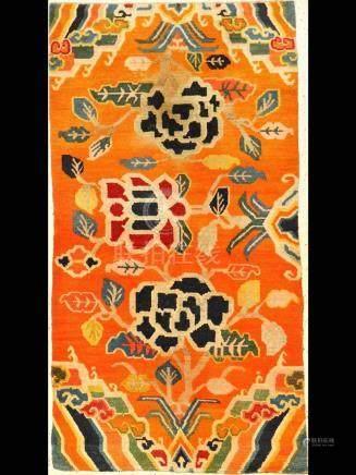 Tibetan Shigatse 'Khaden Rug' (Peonies),
