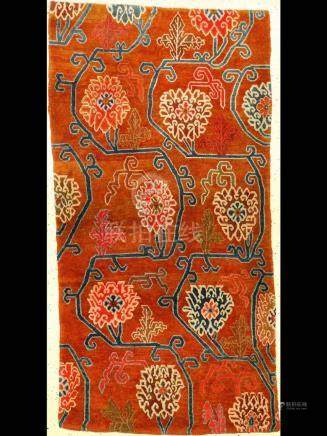 Tibetan Shigatse 'Khaden Rug' (Ming-Style Lotus Pattern),