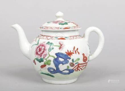 A Richard Chaffers Liverpool teapot and cover. Painted in the famille rose style with a garden