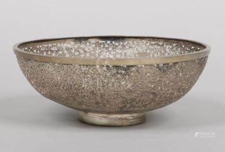 An early 20th century Chinese silver plated bowl. With pierced foliate decoration and with