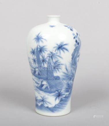 A Chinese blue and white meiping vase. Painted in underglaze blue with a river landscape