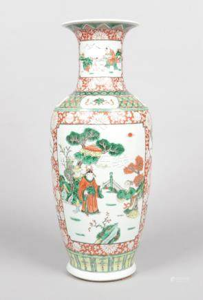 A large 19th century Chinese baluster famille verte vase. Red ground with chrysanthemums and