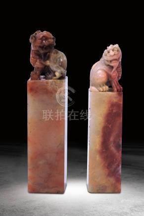 民國 壽山石雕獅鈕方章一組兩方