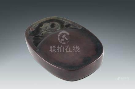 清 魚化龍紋帶眼端硯
