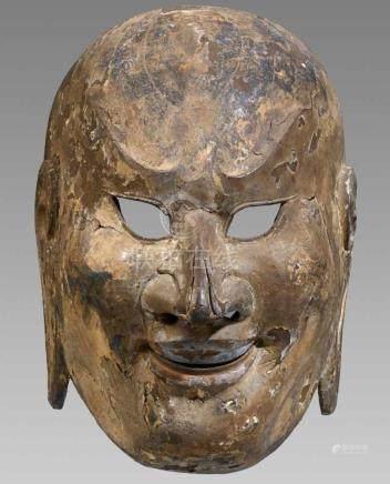 Gigaku-Maske. Paulownia (kiri)-Holz, farbig gefasstTyp Suikojû. Kopf eines lachenden,