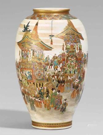 Große Satsuma-Vase. Spätes 19. Jh.Am Boden eisenrote Marke: Kizan kore tsukuru und das Shimazu-