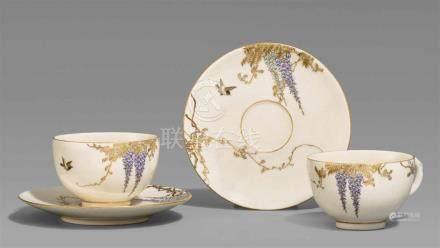 Zwei Satsuma-Teetassen mit Untertassen. Osaka. Um 1900Bodenmarke in Gold: Yabu MeizanAlle Teile