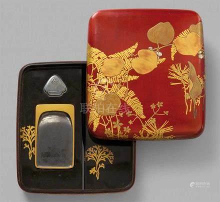 Schreibkasten (suzuribako). Holz und Lack. Kyoto. Frühes 20. Jh.Mit abgerundeten Ecken und wenig