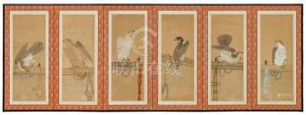 Unidentifizierter Maler der Kano-Schule. 18./19. Jh.Stellschirm, 6-tlg. Auf jedem Paneel Darstellung
