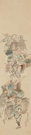 Yokoji Sankyû (tätig 1. Hälfte 19. Jh.)Hängerolle. Geschäftiges Treiben am Jahresende. Tusche und