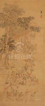 In der Art von Watanabe Kazan. 19. Jh.Hängerolle. Auf einem Dorfplatz wird der spätere General