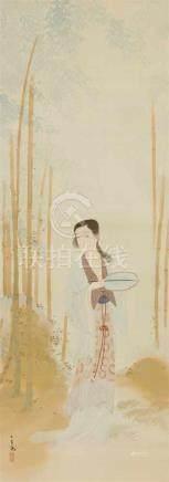 Hyakutei. Mitte 20. JhHängerolle. Chinesische Schönheit mit Blattfächer unter Bambus. Tusche und