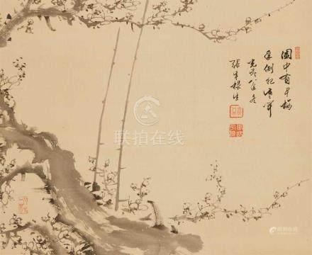Jang Usang. Korea. Um 1900Hängerolle. Pflaumenblütenzweige. Tusche auf Seide. Datiert Gwangmu 4 (