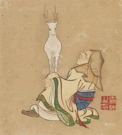 Goko. 19. Jh.Sieben kleine Albumblätter mit Darstellung der Sieben Glücksgötter. Tusche und Farben