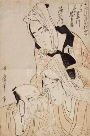 Kitagawa Utamaro (1754-1806)Ôban. Series: Chiwa kagami tsuki no murakumo. Title: Keisei Umegawa,