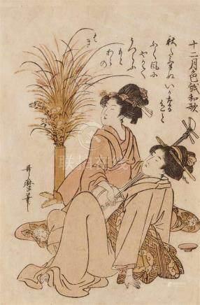 Kitagawa Utamaro (1754-1806)Yotsugiri. Series: Jûnigatsu shikishi waka. Girls with a shamisen next