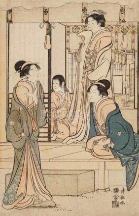 Torii Kiyonaga (1752–1815)Ôban, right sheet of a triptych. The story of Ushiwakamaru serenading