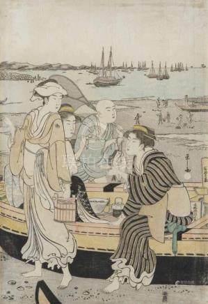 Hosoda Eishi (1756-1829)Ôban, middle section of triptych. Gathering shells on Shinagawa beach. A boy