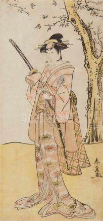 Katsukawa Shunsen (act. 1780-1790)Hosoe. Actor from the Segawa family in a female role under a