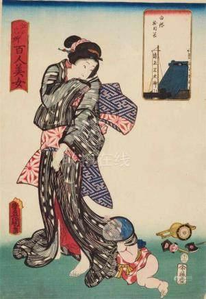 Utagawa Kunisada (1786-1864)Ôban. Series: Edo meisho hyakunin bijo. Title: Shirogane Jumokudani.