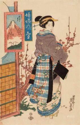Keisai Eisen (1790-1848)Ôban. Series: Fuji no yuki. Title: Suruga no Fuji. Young woman with plum