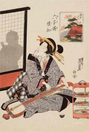 Keisai Eisen (1791-1848)Ôban. Series: Mu Tamagawa. Title: Tôi no Tamagawa. Fulling cloth at the