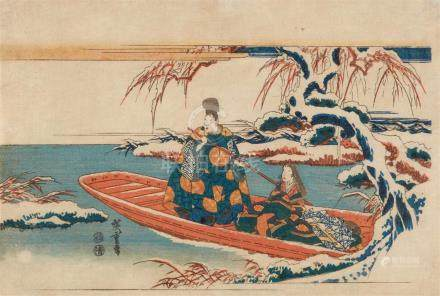 Utagawa Hiroshige (1797-1858)Ôban yoko-e. Man and woman in a boat in a snowy landscape. Signed: