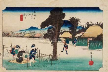 Utagawa Hiroshige (1797-1858)Ôban yoko-e. Series: Gojûsan tsugi meisho zue. No. 51. Title: Minakuchi