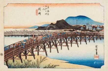 Utagawa Hiroshige (1797-1858)Ôban yoko-e. Series: Tôkaido gojûsan-tsugi no uchi. Title: Okazaki