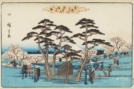 Utagawa Hiroshige (1797-1858)a) Ôban yoko-e. Series: Tôto meisho. Title: Asukayama manka no zu.