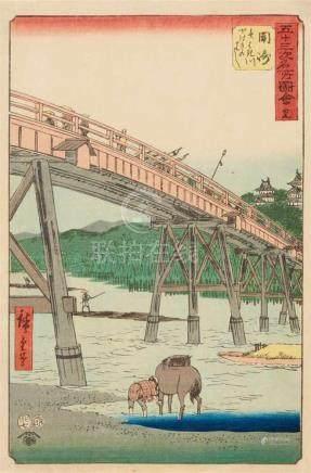 Utagawa Hiroshige (1797-1858)Ôban. Series: Gojûsan tsugi meisho zue. No. 39. Title: Okazaki,