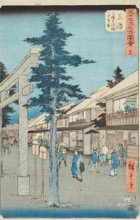 Utagawa Hiroshige (1797-1858)Three ôban from the series Gojûsan tsugi meisho zue. Titles: 12.