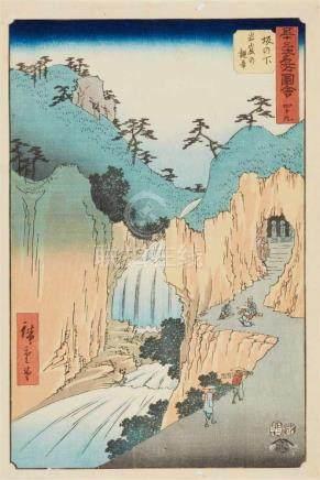 Utagawa Hiroshige (1797-1858)Ôban. Series: Gojûsan tsugi meisho zue. No. 49. Title: Sakanoshita,