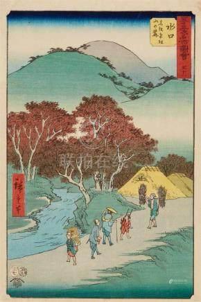 Utagawa Hiroshige (1797-1858)Ôban. Series: Gojûsan tsugi meisho zue. No. 51. Title: Minakuchi,