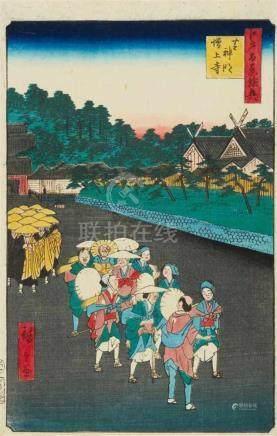 Utagawa Hiroshige (1897-1858)Two ôban from the series Meisho Edo hyakkei. a) Title: Shiba Shinmei