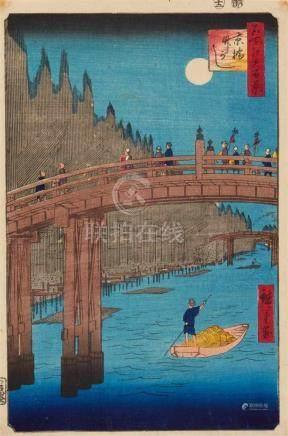Utagawa Hiroshige (1797-1858)Ôban. Series: Meisho Edo hyakkei. Title: Kyôbashi takegashi. Bamboo