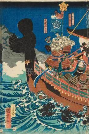 Utagawa Kuniyoshi (1797-1861)Ôban triptych. Title: Yoshitsune jûku shin. The nineteen retainers of